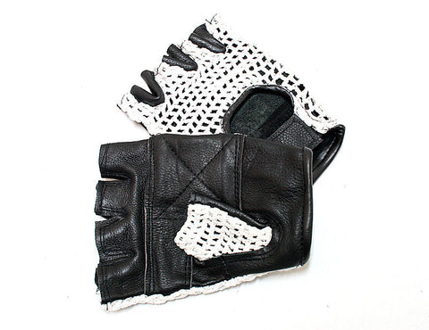 White Meshback Leather Gloves