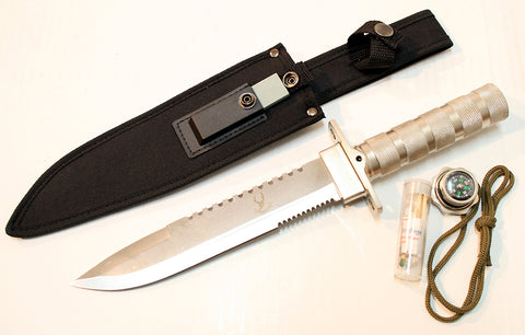 "14"" Carbon Steel Survival Knife Heavy Duty Fire Starter"