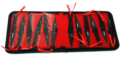 "Set of 12 Black 6.5"" Throwing Knives with Carrying Case"