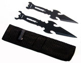 "Set of 2 Black 7"" & 6"" Throwing Knives with Sheath Sharp"