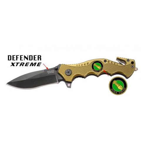 "Yellow 7 1/2"" Heavy Duty Folding Spring Assisted Knife with a Bomb Squad Plate"
