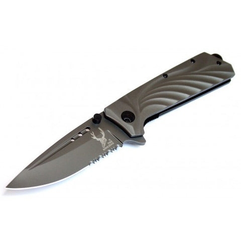 "8"" The Bone Edge Collection Grey Folding Spring Assisted Knife Handle with Belt Clip"