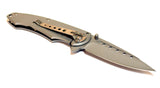 "8"" Silver S/A Howling Woof Stainless Steel Blade Pocket Knife Metal Handle W/ Belt Clip"