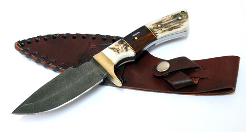 "9"" Fulll Tang Damascus Steel Stag Edge Horn Handle Hunting Knife Hand Made"