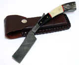"10"" Damascus Steel Sharp Razor Blade Buffalo Horn Handle Hand Made"