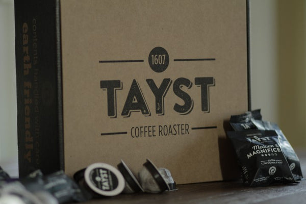 Tayst coffee subscription box with compostable k-cups