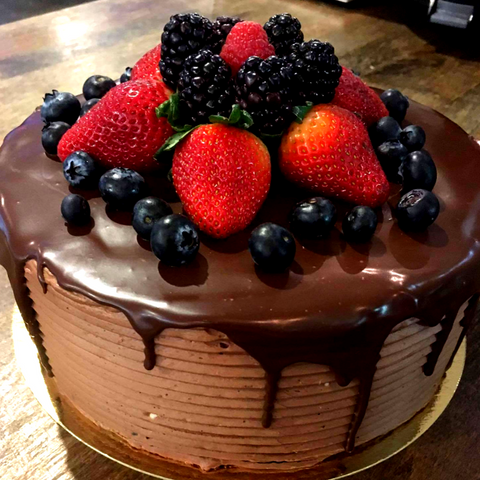 Chocolate Cake + Chocolate Buttercream + Ganache + Berries