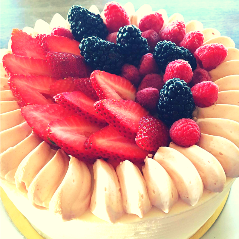 Vanilla Cake + Buttercream Frosting + Berries