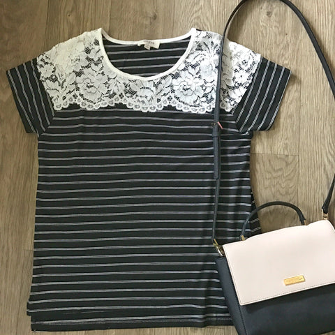 Black/White Lace Top