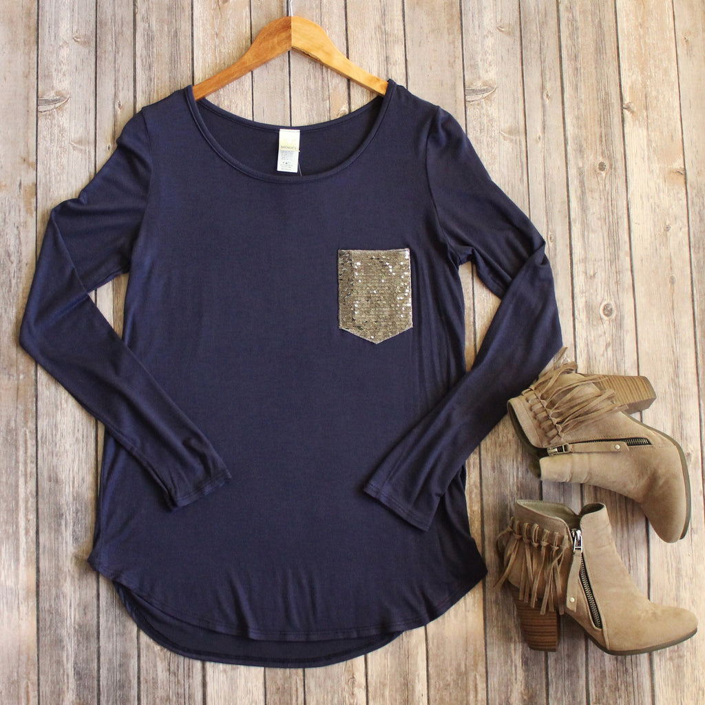 Navy Sparkle Pocket Top