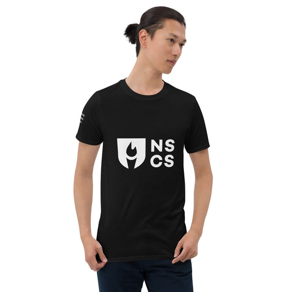 Short-Sleeve Unisex T-Shirt with Motto on Right Sleeve