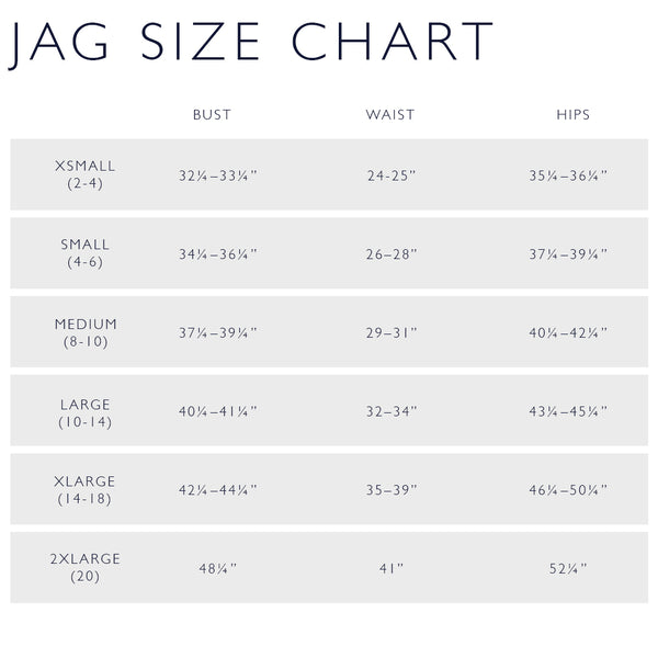 JAG Brand Size Chart
