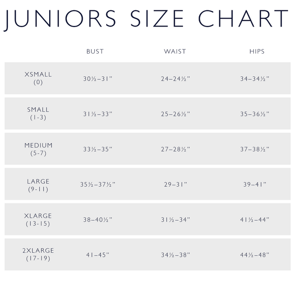Juniors Size Chart