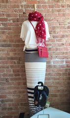 stripe maxi skirt, white vneck tee, red scarf & crossbosy with sandals