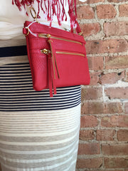 alternate view of red crossbody purse