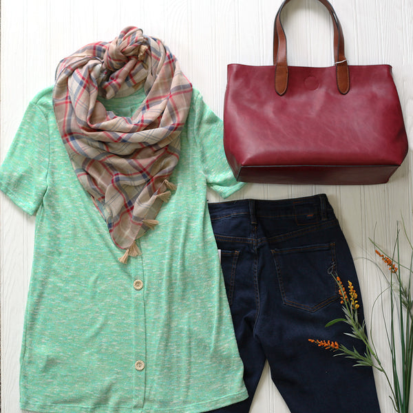 mint, burgundy & denim outfit