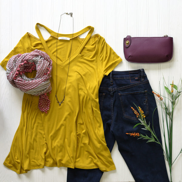 mustard, pink, & plum outfit