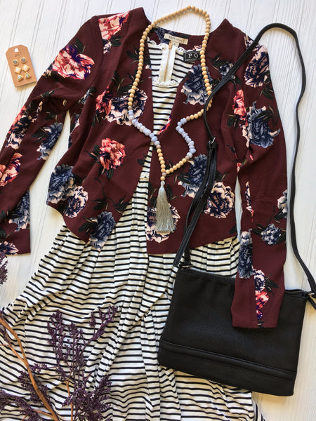 stripe dress with burgundy floral blazer & accessories