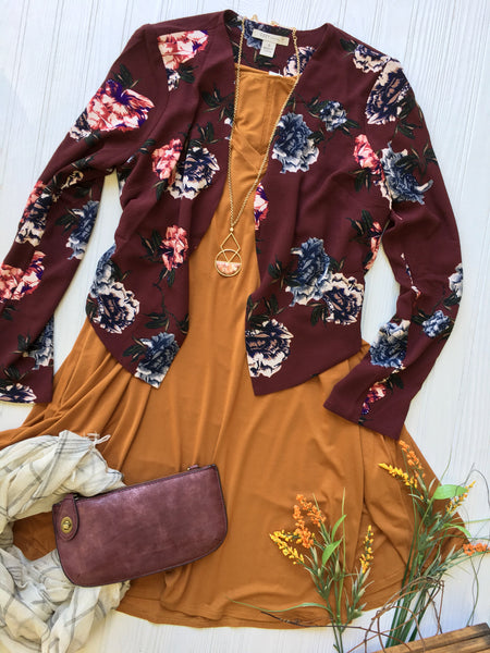 Broze tunic under Floral blazer with accessories