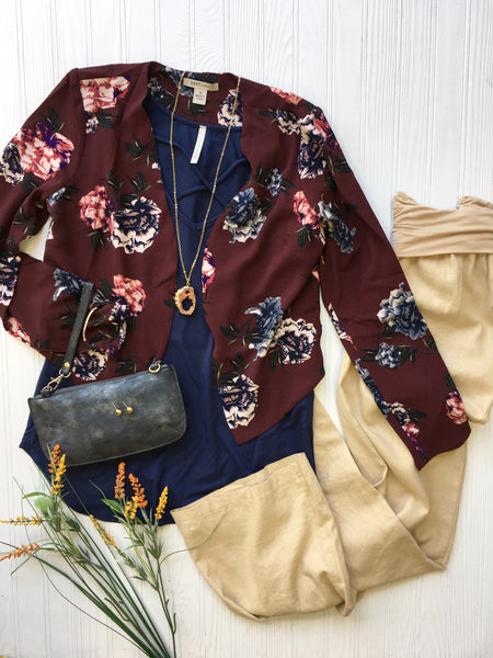 navy tee under Flora Blazer with accessories & khaki Pant