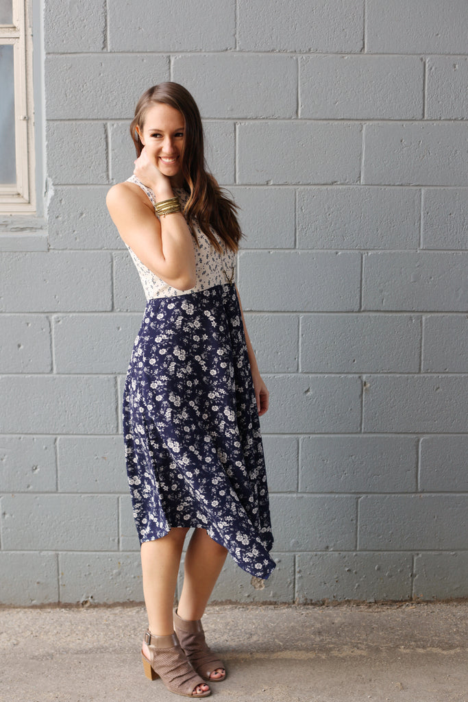 modeled outfit,, floral print midi dress in navy and ivory