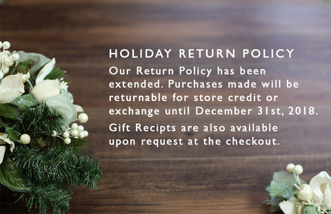 Extended returns thru December 31st 2018