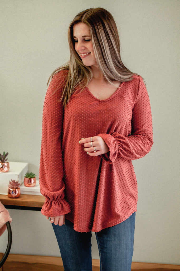 V-neck Peasant Sleeve Top