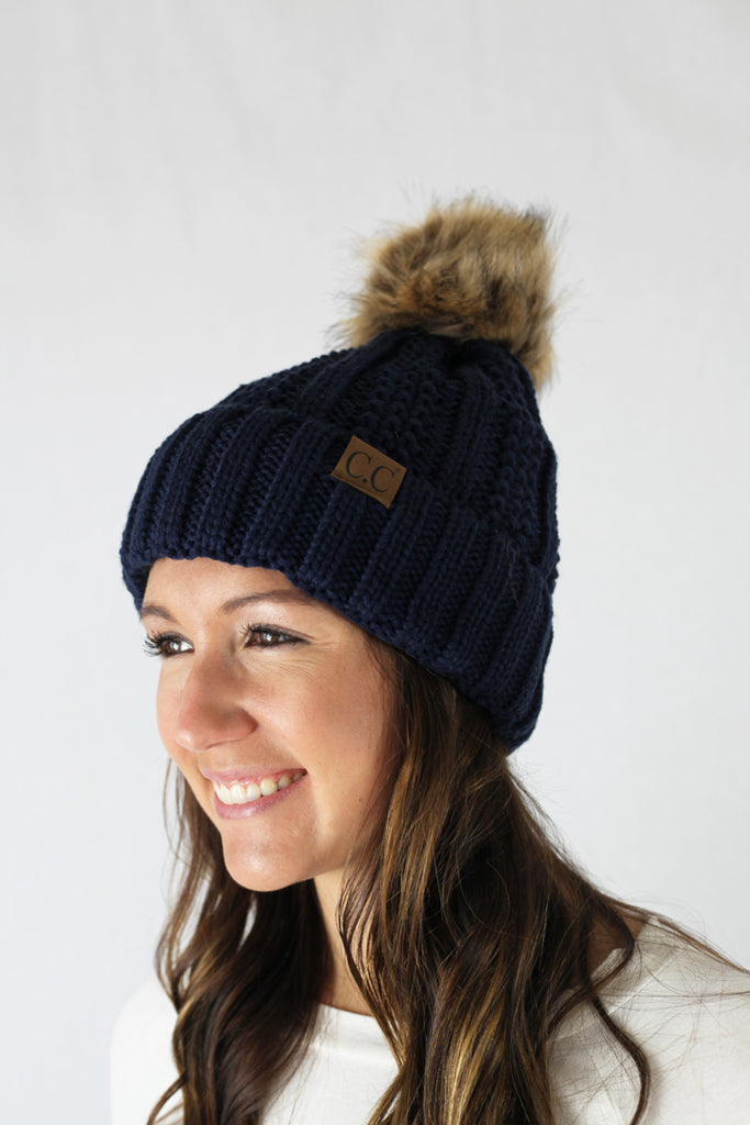 Rib Knit C.C. Hat with Pom