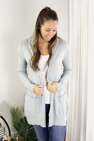 Ribbed Hem Pocket Cardigan