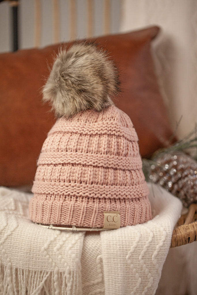 Girl's C.C. Hat with Fur Pom