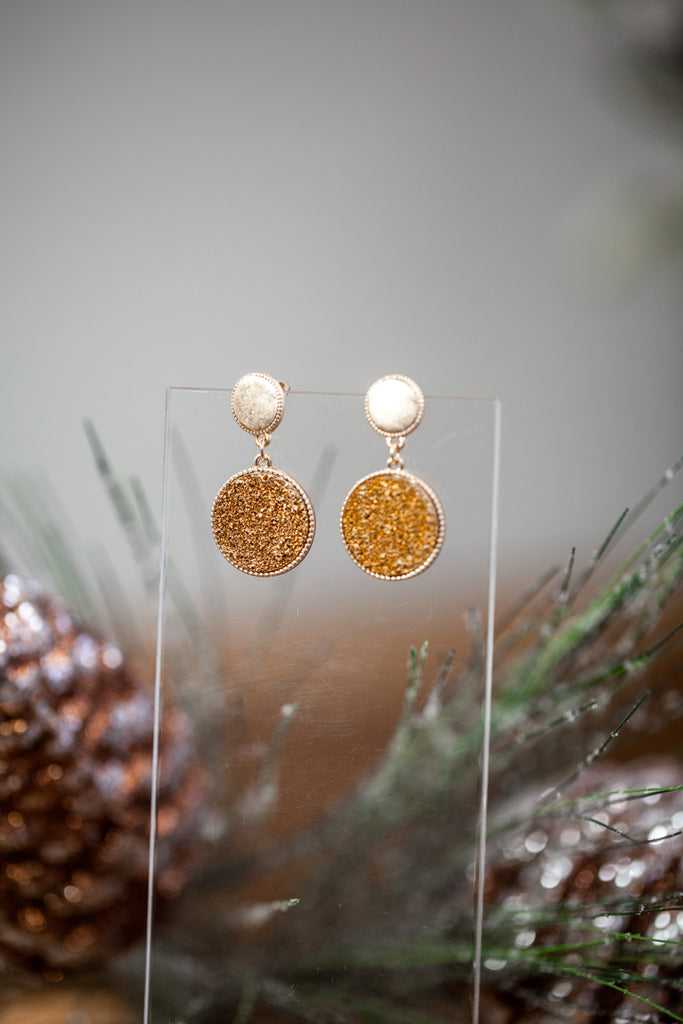 Druzy Disk Earrings
