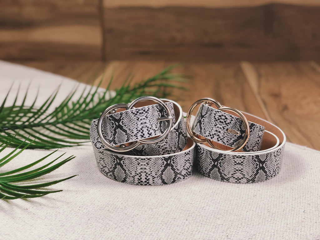Double Ring Snakeskin Belt