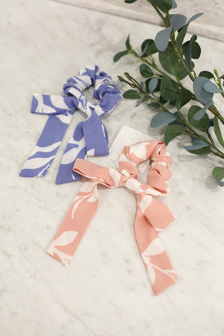 Long Bow Floral Scrunchie