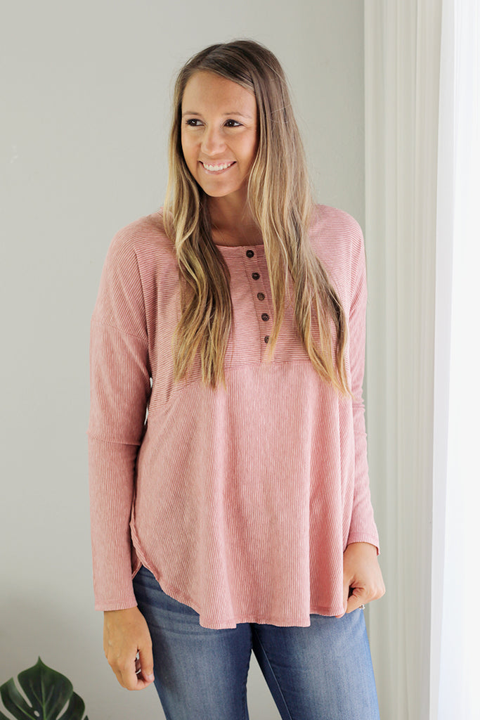 Stripe Henley Tunic