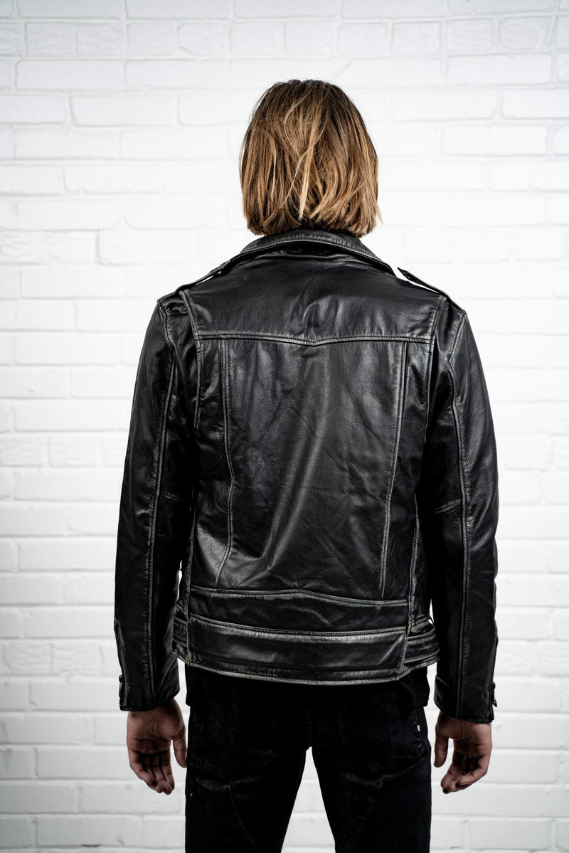 Kollar Clothing Aged Leather Jacket - Black Coppertone