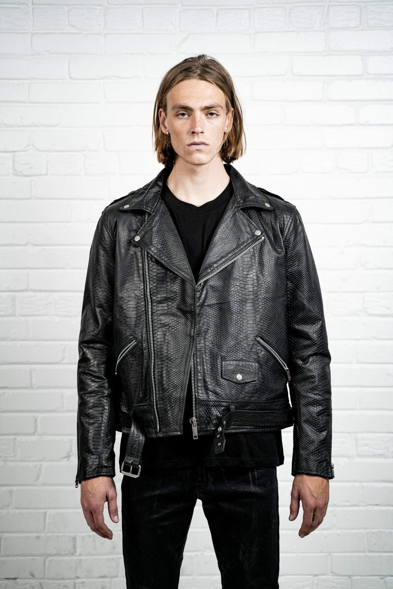 Kollar Clothing Crocodile Leather Jacket - Black