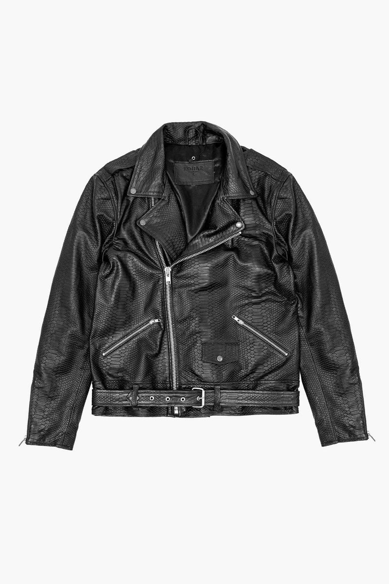 LB Pythono Leather Jacket - Black