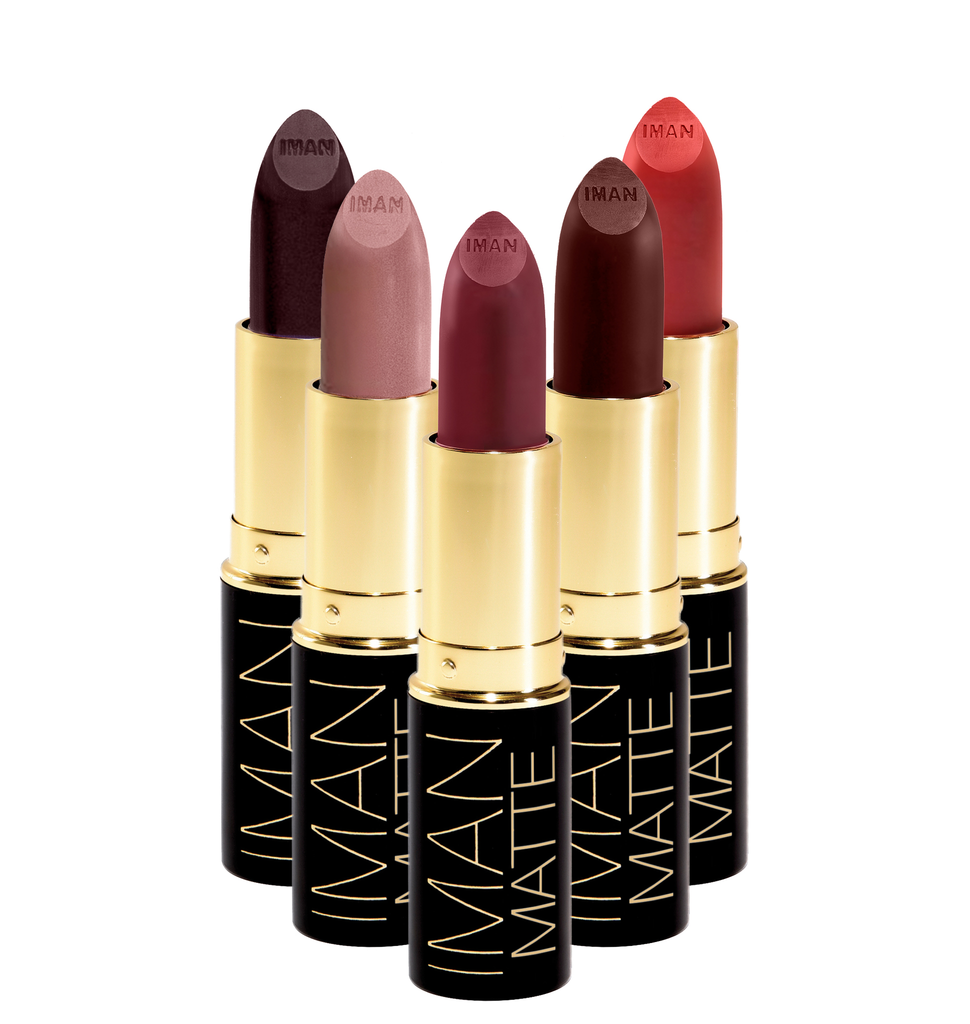 IMAN Matte Lipstick a stay-put matte formula with a smooth, velvety, non-drying texture.