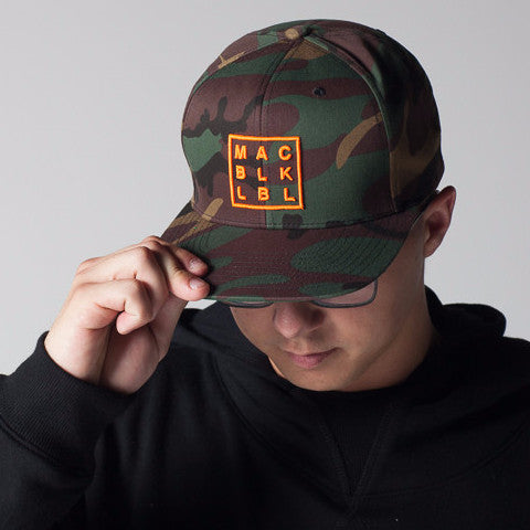 MAC BLK Camo Hat w/ Orange Logo
