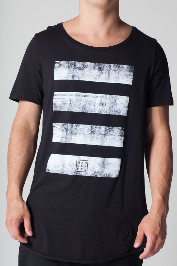 Faded Lines Long Tee - BLACK