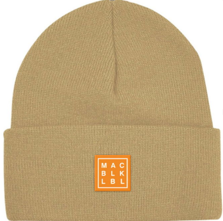MAC BLK Khaki Patch Beanie