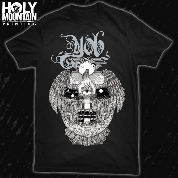"YOB SILVER AND WHITE ""BARDO HAWK"" SHIRT"