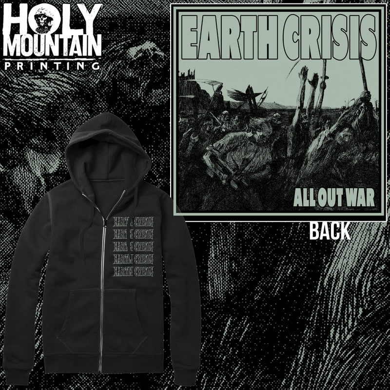 "EARTH CRISIS ""ALL OUT WAR"" ZIP UP SWEATSHIRT"