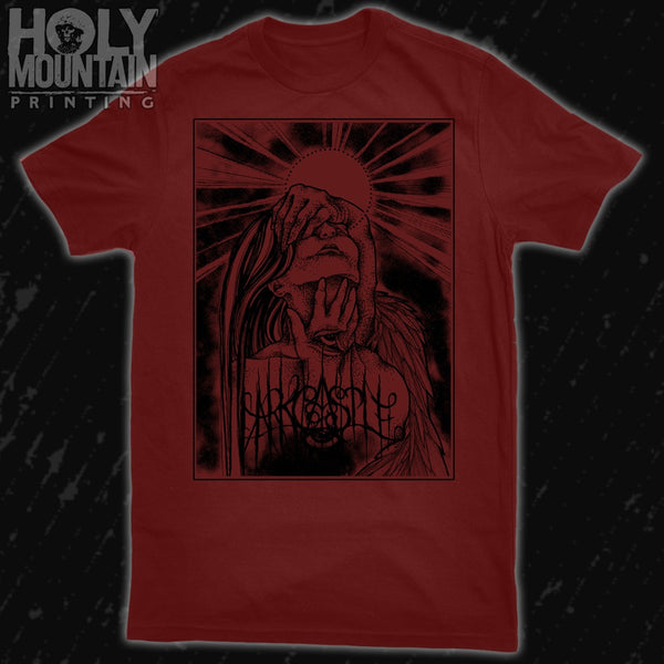 "DARK CASTLE ""STARE INTO ABSENCE"" BURGUNDY SHIRT"