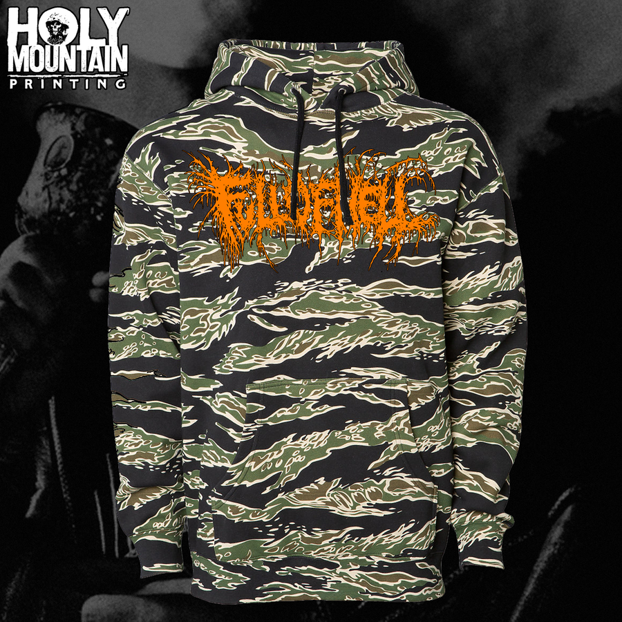 "FULL OF HELL ""TIGER CAMO"" PULLOVER HOOD"