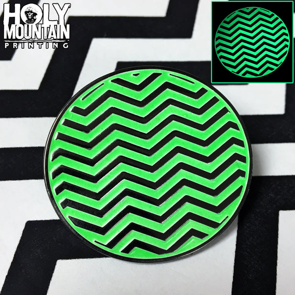GLOW IN THE DARK BLACK LODGE METAL PIN