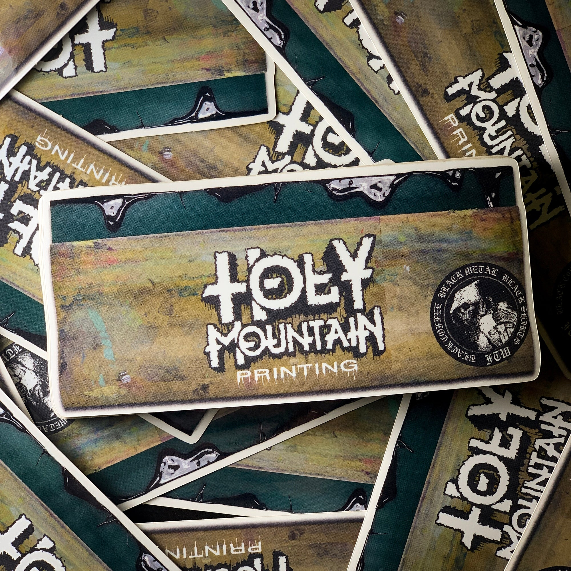 """HOLY MOUNTAIN PRINTING SQUEEGEE"" DIE CUT CLEAR STICKER"