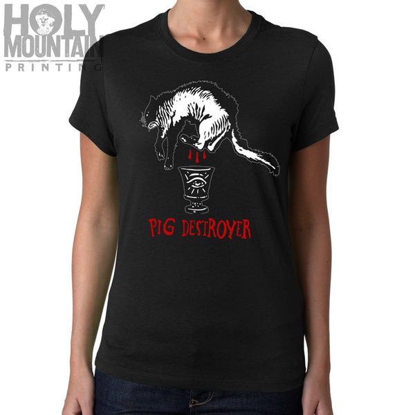 "PIG DESTROYER ""BLACK CAT"" WOMENS SHIRT"