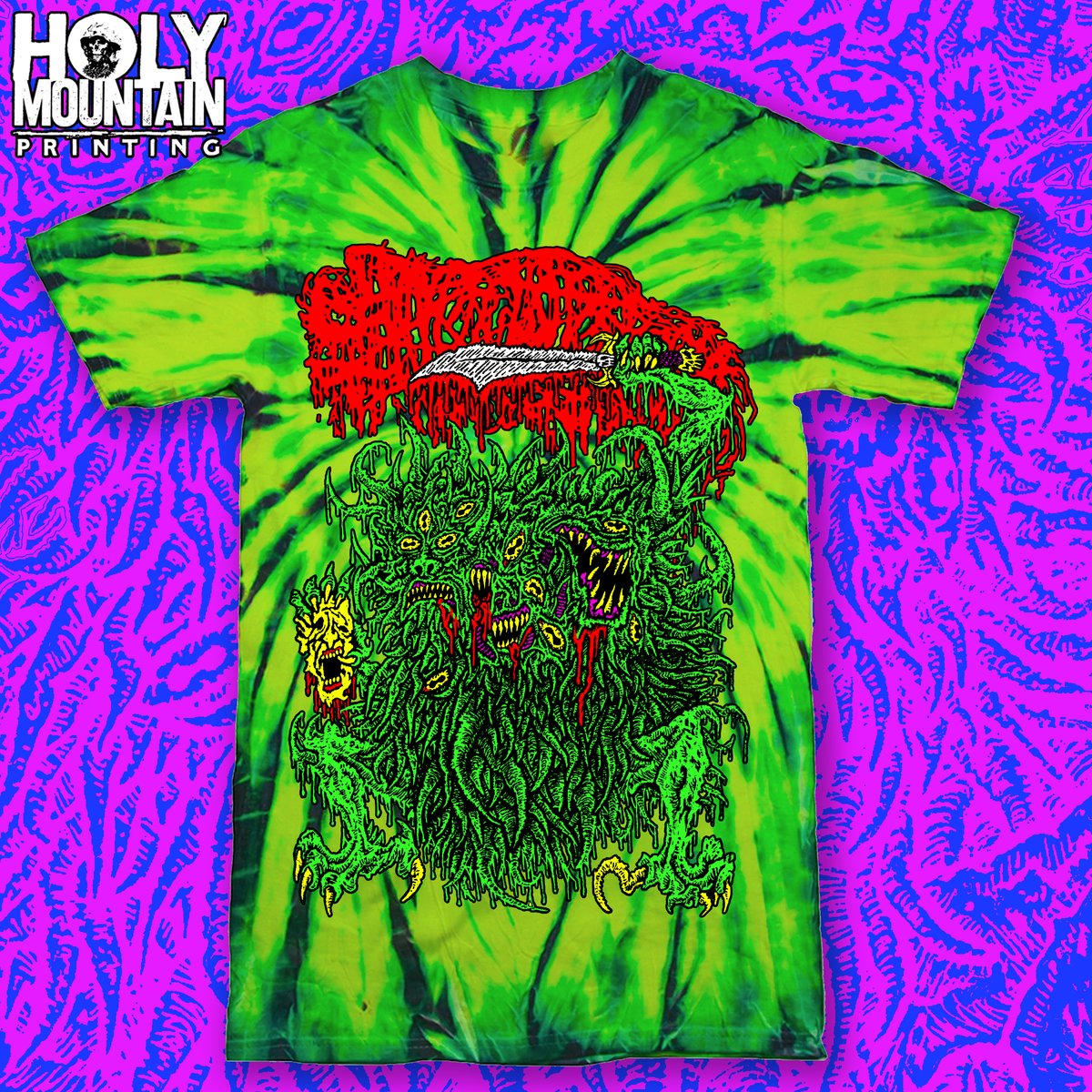 "SANGUISUGABOGG ""NIGHTMARE TIE DIE"" BONG WASH GREEN SHIRT"