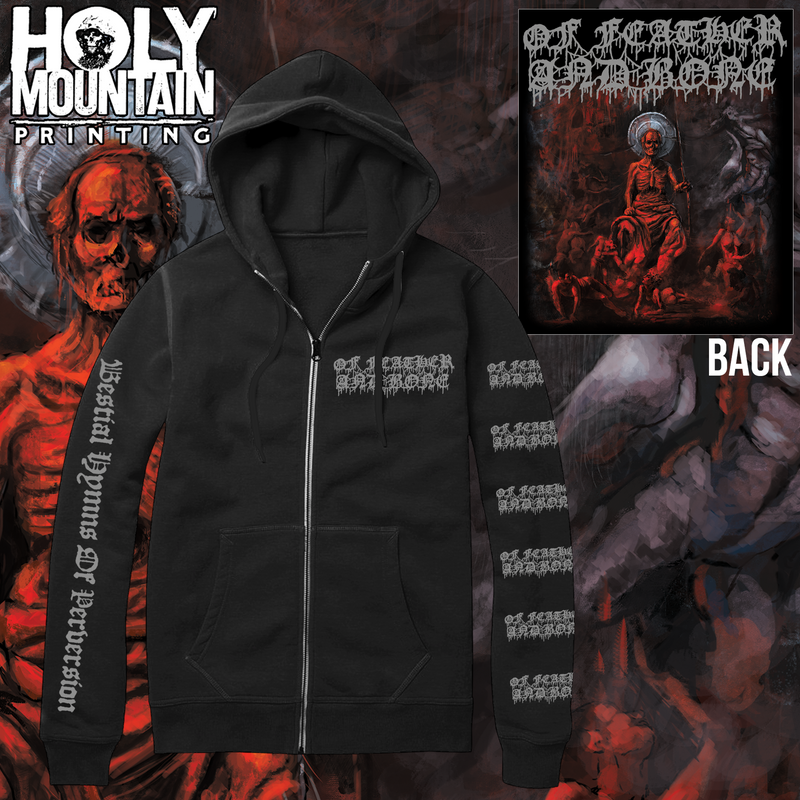 "OF FEATHER AND BONE ""BESTIAL HYMNS OF PERVERSION"" ZIP UP SWEATSHIRT"